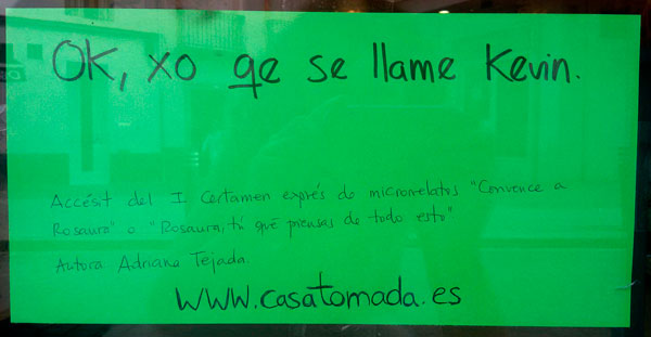 """Accésit del I Certamen Exprés de microrrelato """"Convence a Rosaura"""". Autora: Adriana Tejada."""