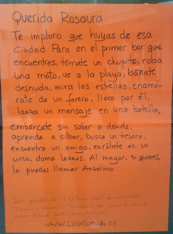 Texto ganador del I Certamen Exprés de Microrrelatos Convence a Rosaura. Autora: Iracunda Smith.