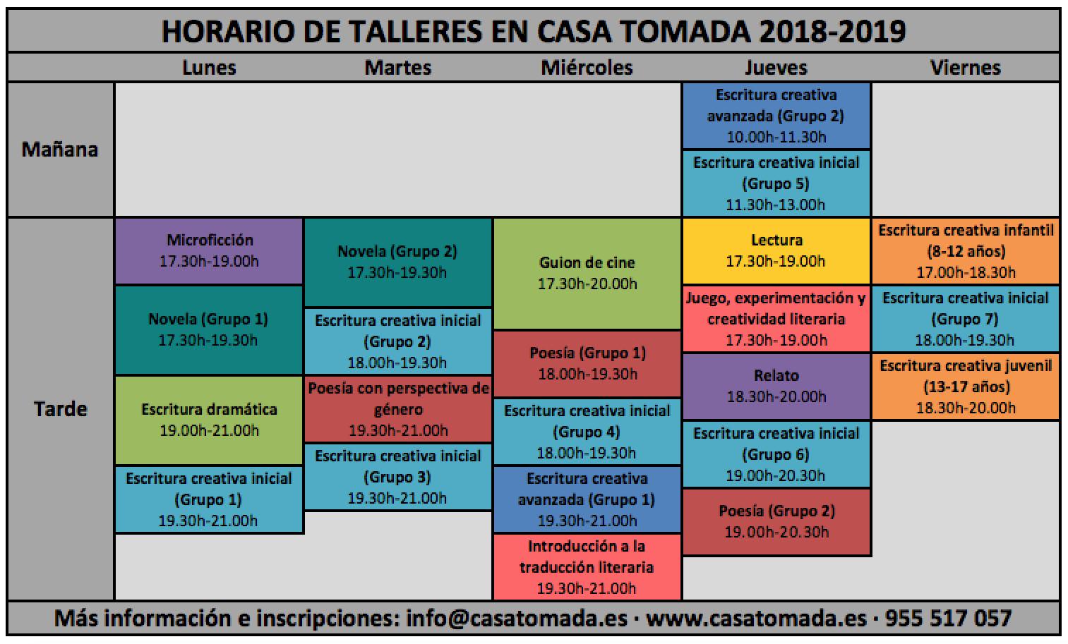 Calendario Sevilla.Calendario Del Curso 2018 2019 Casa Tomada Sevilla